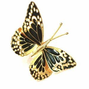 Butterfly Brooch Black and Gold